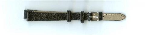Black Skin Print Leather Watch Strap 10mm (Silver Buckle)